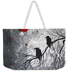 Original Abstract Surreal Raven Red Blood Moon Painting The Overseers By Madart Weekender Tote Bag by Megan Duncanson