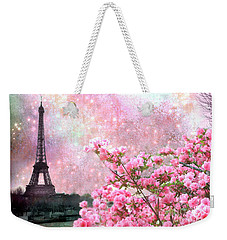 Paris Eiffel Tower Cherry Blossoms - Paris Spring Eiffel Tower Pink Blossoms  Weekender Tote Bag by Kathy Fornal