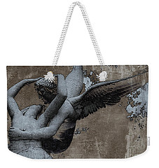 Paris Eros And Psyche - Surreal Romantic Angel Louvre   - Eros And Psyche - Cupid And Psyche Weekender Tote Bag by Kathy Fornal