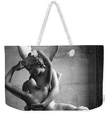 Paris In Love - Eros And Psyche Romantic Lovers - Paris Eros Psyche Louvre Sculpture Black White Art Weekender Tote Bag by Kathy Fornal