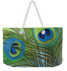 Peacock Candy Blue And Green Weekender Tote Bag by Mindy Sommers