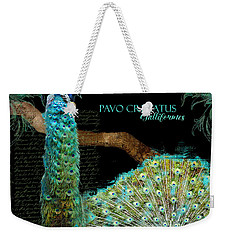 Peacock Pair On Tree Branch Tail Feathers Weekender Tote Bag by Audrey Jeanne Roberts