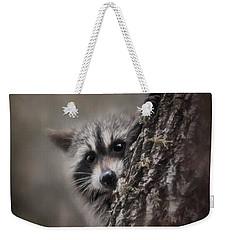 Peekaboo Raccoon Art Weekender Tote Bag by Jai Johnson