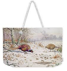 Pheasant And Partridge Eating  Weekender Tote Bag by Carl Donner