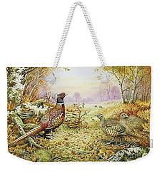 Pheasants In Woodland Weekender Tote Bag by Carl Donner
