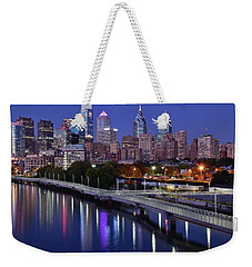 Philadelphia Blue Hour Weekender Tote Bag by Frozen in Time Fine Art Photography