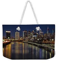 Philadelphia Skyline At Night Weekender Tote Bag by Susan Candelario