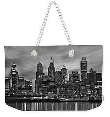 Philadelphia Skyline Bw Weekender Tote Bag by Susan Candelario