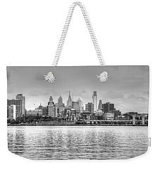 Philadelphia Skyline In Black And White Weekender Tote Bag by Jennifer Ancker