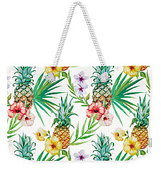 Pineapple And Tropical Flowers Weekender Tote Bag by Vitor Costa