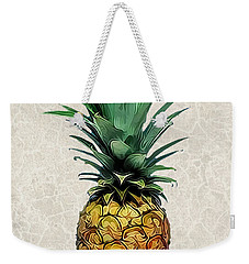 Pineapple Express On Mottled Parchment Welcome Weekender Tote Bag by Elaine Plesser