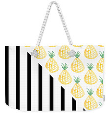 Pineapples And Stripes Weekender Tote Bag by Linda Woods