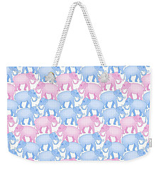 Pink And Blue Elephant Pattern Weekender Tote Bag by Antique Images