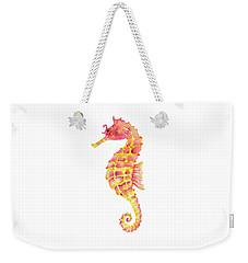 Pink Yellow Seahorse Weekender Tote Bag by Amy Kirkpatrick