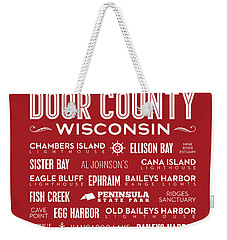 Places Of Door County On Red Weekender Tote Bag by Christopher Arndt