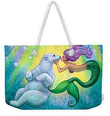 Polar Bear Kiss Weekender Tote Bag by Sue Halstenberg