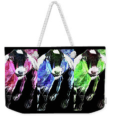 Pop Art Goats Trio - Sharon Cummings Weekender Tote Bag by Sharon Cummings