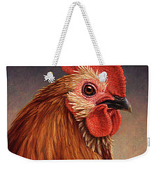 Portrait Of A Rooster Weekender Tote Bag by James W Johnson
