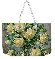 Princess Diana Roses In A Cut Glass Vase Weekender Tote Bag by Albert Williams