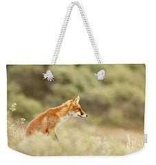 Princess Of The Hill - Red Fox Sitting On A Dune Weekender Tote Bag by Roeselien Raimond