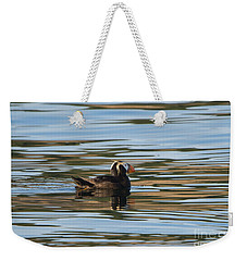 Puffin Reflected Weekender Tote Bag by Mike Dawson