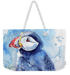 Puffin With Flowers Weekender Tote Bag by Kovacs Anna Brigitta