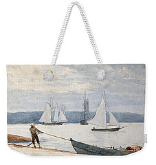 Pulling The Dory Weekender Tote Bag by Winslow Homer