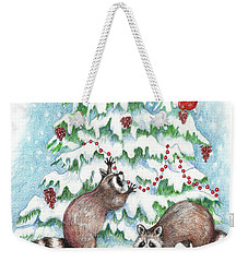 Raccoon Christmas Weekender Tote Bag by Peggy Wilson