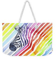 Rainbow Zebra Pattern Weekender Tote Bag by Olga Shvartsur
