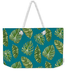 Rainforest Resort - Tropical Leaves Elephant's Ear Philodendron Banana Leaf Weekender Tote Bag by Audrey Jeanne Roberts