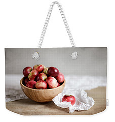 Red Apples Still Life Weekender Tote Bag by Nailia Schwarz