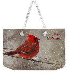 Red Bird In Snow Christmas Card Weekender Tote Bag by Lois Bryan
