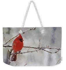 Red Bird Of Winter Weekender Tote Bag by Jeff Kolker