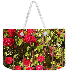 Red Roses In Summertime Weekender Tote Bag by Arletta Cwalina