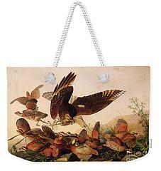 Red Shouldered Hawk Attacking Bobwhite Partridge Weekender Tote Bag by John James Audubon