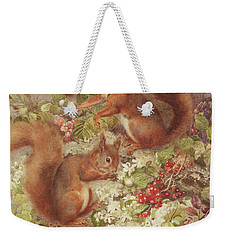 Red Squirrels Gathering Fruits And Nuts Weekender Tote Bag by Rosa Jameson