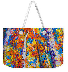 Redemption - Fall Birch And Aspen Weekender Tote Bag by Talya Johnson