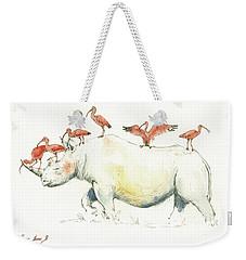 Rhino And Ibis Weekender Tote Bag by Juan Bosco