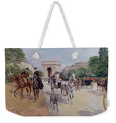 Riders And Carriages On The Avenue Du Bois Weekender Tote Bag by Georges Stein