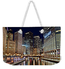 River View Of The Windy City Weekender Tote Bag by Frozen in Time Fine Art Photography