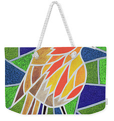 Robin On Stained Glass Weekender Tote Bag by Pat Scott