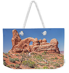 Weekender Tote Bag featuring the photograph Rock Formation, Arches National Park, Moab Utah by A Gurmankin