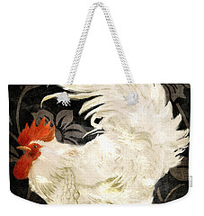 Rooster Damask Dark Weekender Tote Bag by Mindy Sommers