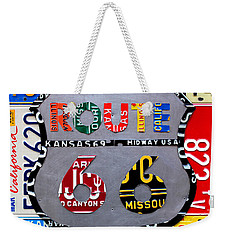 Route 66 Highway Road Sign License Plate Art Weekender Tote Bag by Design Turnpike