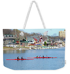 Rowing Along The Schuylkill River Weekender Tote Bag by Bill Cannon