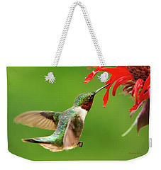 Ruby-throated Hummingbird With Red Flowers Weekender Tote Bag by Christina Rollo