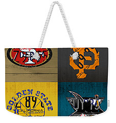 San Francisco Sports Fan Recycled Vintage California License Plate Art 49ers Giants Warriors Sharks Weekender Tote Bag by Design Turnpike