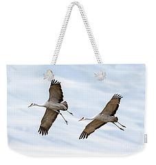 Sandhill Crane Approach Weekender Tote Bag by Mike Dawson