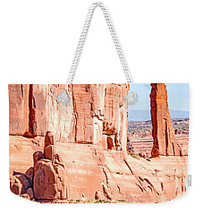 Weekender Tote Bag featuring the photograph Sandstone Butte And Canyon Floor, Arches National Park, Moab, Ut by A Gurmankin