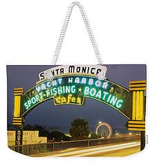 Santa Monica Pier Sign Santa Monica Ca Weekender Tote Bag by Panoramic Images